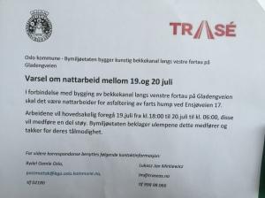Melding fra Bymiljøetaten om nattestøy mellom 19. og 20. juli